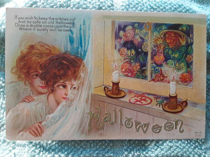 Embossed Halloween Postcard 1913 Double Cross, Boy & Girl , Witch in Window