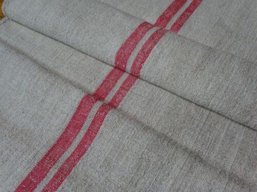 Antique European Feed Sack GRAIN SACK Red Stripes # 10396