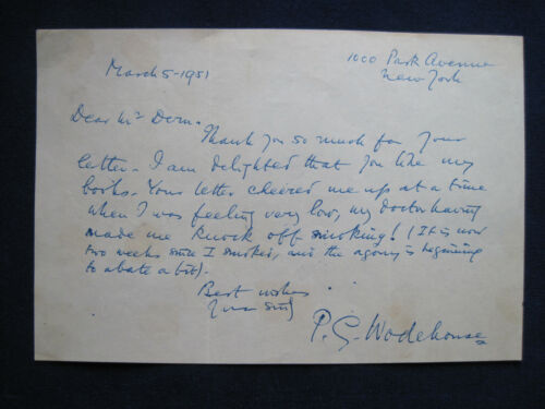 ORIGINAL AUTOGRAPH LETTER SIGNED by P.G. WODEHOUSE - Single page, 1951