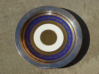 Sterling Silver Gold Trim Ornate Decorative Ceramic PLATE by ROSENTHAL Germany