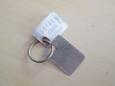 Vintage Tin Metal Key Tags Record Detach With Numbers