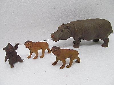 MES-38792Alte Elastolin 4 St. Flußpferd,Affen,Bär Originalzustand,