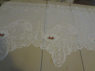 """Heritage lace Ecru Mantel Scarf Tea Pot Tea Cups embroidered red roses 60 x 20 """""""