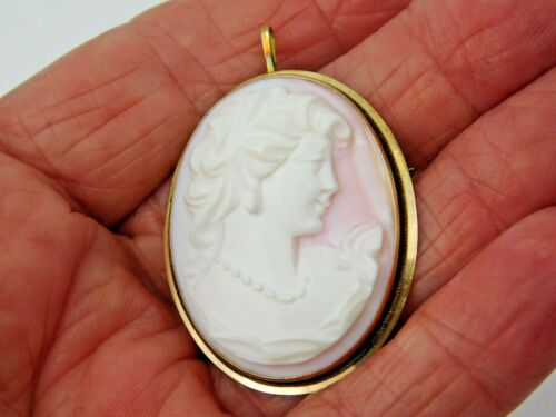 Vintage 14K Yellow Gold Pink & White Cameo Brooch / Pin / Pendant