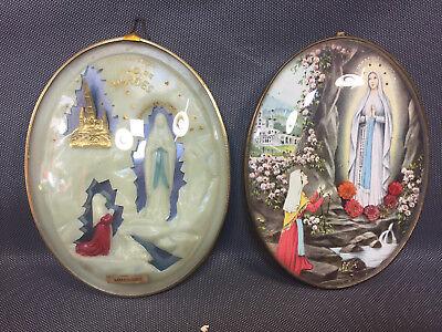 2 Stück Symbole Nonnen unter Gläser gewölbt Jungfrau souvenir Schwere