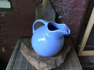 Vintage 40's Hall Cornflower Blue Ball Pitcher Jug With Ice Lip