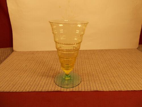 "Utility Glass Workd Company Mandalay Dine Vaseline & Green Iced Tea Glass 6"""