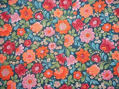 Vintage retro floral 60' 70's Dekoplus cotton interiors fabric - 1.1M lengths
