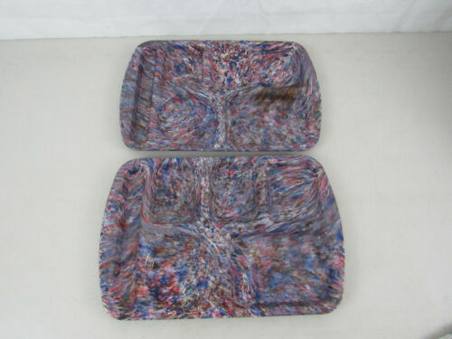 2 Vintage Prolon Ware 9953 Melamine Multi Colored Lunch Trays