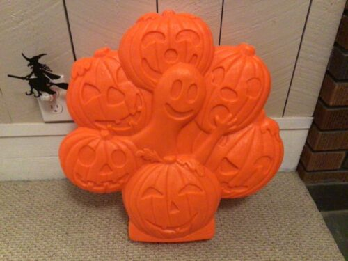 Pumpkin/Ghost Halloween Blow Mold Don Featherstone Union Products Wreath Unused