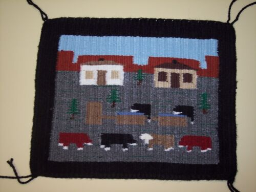 Hand Woven Navajo Pictorial  Lifestyle Rug with 6 Cows by Cecelia Curley, NEW