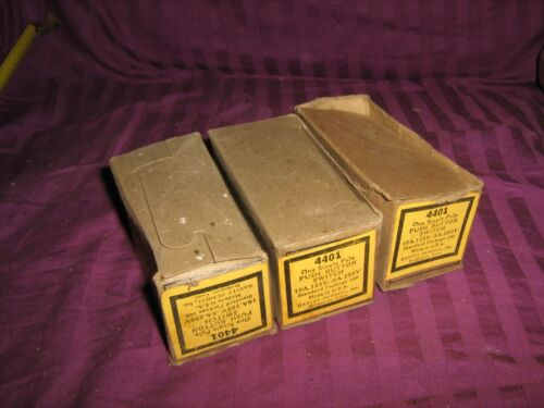 LOT of (3) NOS 4401   Push Button Light Switch Porcelain H&H Pearl In Box *READ*