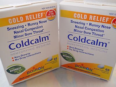 (Boiron ColdCalm Homeopathic Medicine Cold Relief 60 tablets each (2pks) exp 2020)
