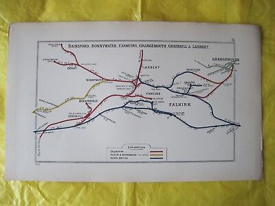 1913 RAILWAY CLEARING HOUSE Junction Diagram No.31 FALKIRK AREA/GRANGEMOUTH.