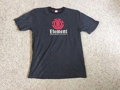 Vintage Element Ringer Logo T Shirt Large Gray Black Skateboard 90s USA Made