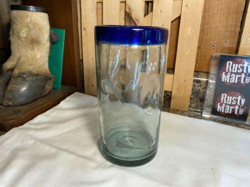 Vintage Unique Thick Blown Glass with Dimples & Cobalt Blue Rim Vase