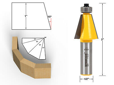 15 Degree Chamfer Edge Forming Router Bit - 1/2