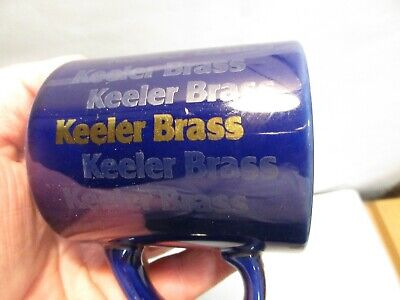 vintage Keeler Brass Co. Blue Advertising Coffee Mug Cup that is in good shape