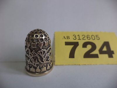 Vintage Continental / European .925 Solid Silver Thimble with Flora Decoration