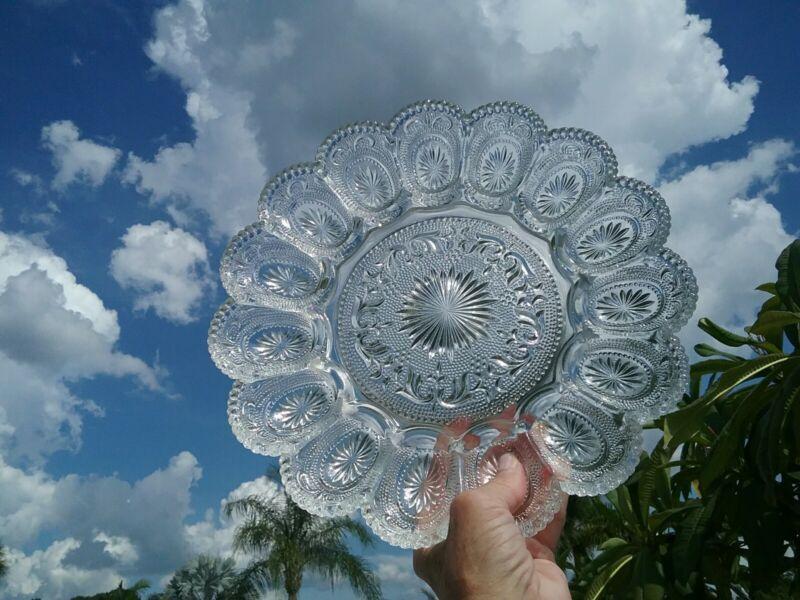 Vintage Stunning Clear Patterned Glass Deviled Egg Plate
