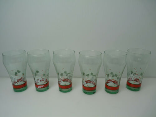 Vintage Christmas Coca-Cola  Green Glasses Pine Cones Set of 6 -