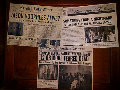 Halloween Movie Memorabilia (Horror Movie Newspaper Prop 3-Pk, Halloween, Friday 13th, Nightmare Elm)