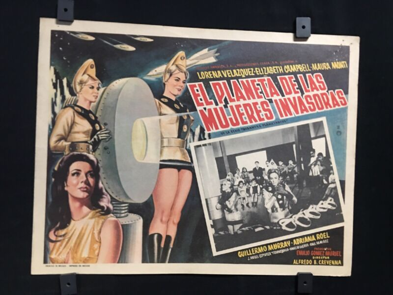 "1966 PLANET OF THE FEMALE INVADERS Original Mexican Movie Lobby Card 16""x12"""