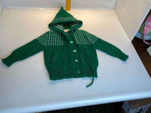 Vintage Green Sweater Kids Girl Boy Hood Sunflower 12-18 months