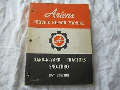 Ariens Service Repair Manual Lawn Tractor Rotary Tiller Snow Thrower Sno-thro