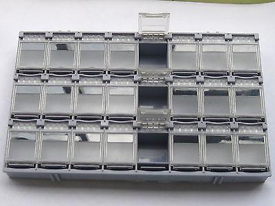 4 Pcs Smd Smt Electronic Component Mini Storage Box 24 Blocks Grey Color T-157