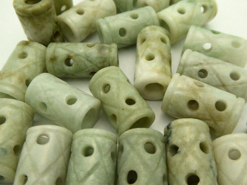Vintage Natural Carved Jade Jadeite Cylinder Tube Pendant Bead New Old Stock 4pc