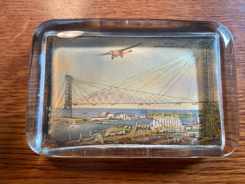 1933 Worlds Fair Chicago Sky Ride Glass Paperweight Embedded Image