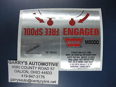 - WARN 26690 Winch Replacement Decal Label Kit Set Sticker M8000 12V