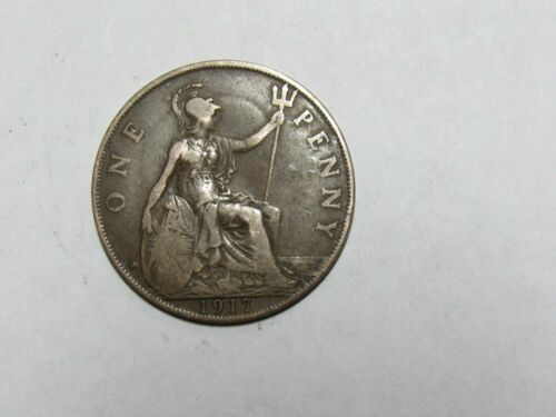 Old Great Britain Coin - 1917 Penny - Circulated