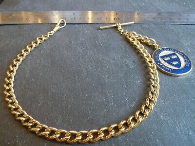 HEAVY 43g Vintage Yellow Gold Plated Albert Pocket Watch Chain + Irish Fob Medal