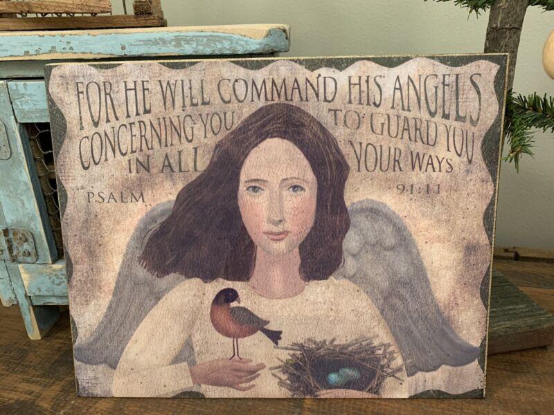 Folk Art Primitive Angel With Psalm 91:11 On 8x10 Canvas
