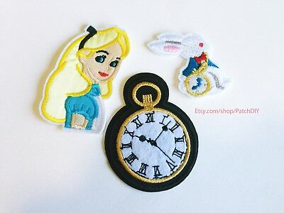 Set Alice in Wonderland white rabbit Clock PATCH Iron On Embroidered applique  - Alice In Wonderland White Rabbit Clock