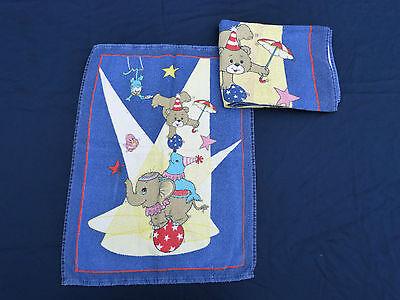 1385. Kinder Handtuch, Handtücher, 2 Stück, Teddy im Zirkus