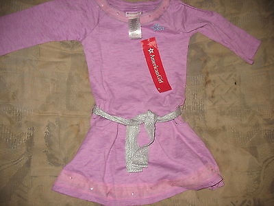 American Girl Lilac Dress for Girls Size 16 Silver Belt Tie 3/4 Sleeve NWTS