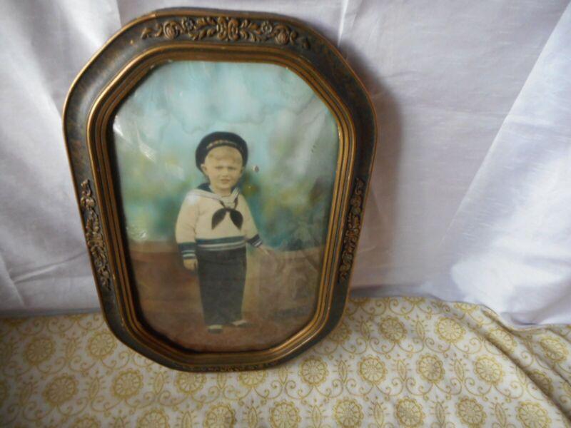 "ANTIQUE VICTORIAN BUBBLE GLASS WOODEN FRAMED PICTURE 18"" x 12"" Sailor Boy"