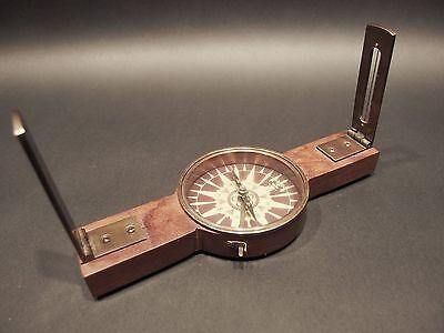 Antique Vintage Style Brass Wood Encampment & Fortification Surveyors Compass