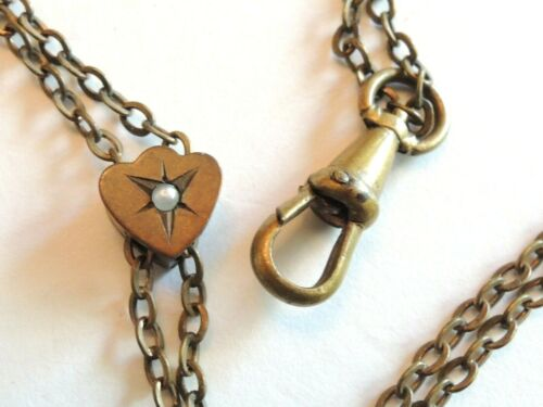 """Antique Victorian Watch Fob Chain with Seed Pearl Heart fob Slide 24"""" vintage"""
