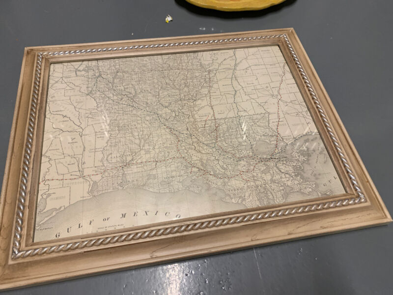 "Decorative 1980 Framed Louisiana Map, total 16""x20"""