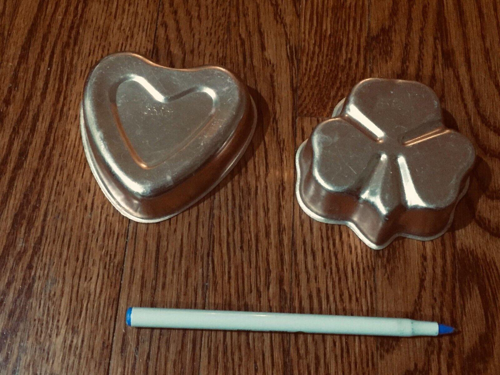 Vintage copper metal cookie cutters molds  heart shamrock ca