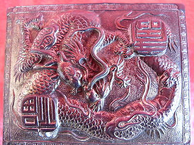Beautiful, Old Covered Dish __ Metal __Decorated: Dragon __ China _
