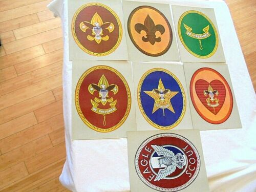 "Vintage Boy Scout Set of 7 Cardboard 9.5"" x 12"" Insignia Poster Set No.4647"