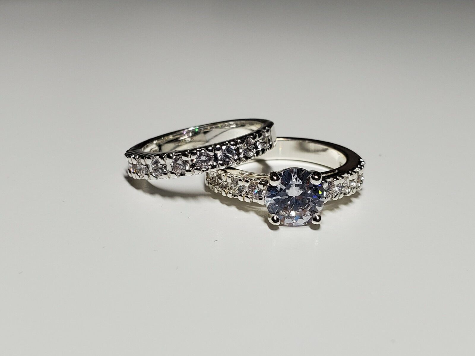 ring set size 5 silver tone new