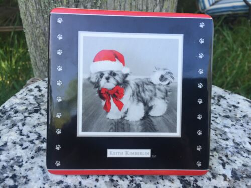 Rare Tabletop Keith Kimberlin Christmas Shih Tzu Dog in Santa Hat Red bow Tile