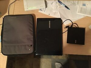 Samsung touch screen laptop, bag, printer, router, disc drive