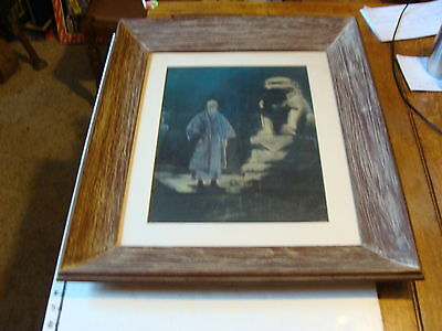 Vintage Framed Art: Asian man with statue, nice, and dark, signed but hard to re